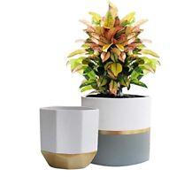 """LA JOLIE MUSE White Ceramic Flower Pot Garden Planters 6.5"""" Pack 2 Indoor Plant"""