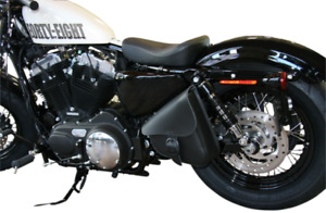 Willie & Max Black Leather Left Side Swing Arm Saddlebag 86-19 Harley Sportster
