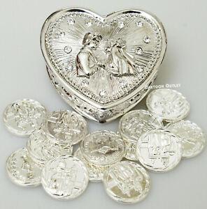 WEDDING CEREMONY SILVER HEART ARRAS DE BODA 13 UNITY COINS COUPLE NEW  SILVER