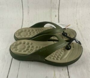 NWT Crocs Army Green Reviva Flip 205545-3TQ Casual Comfort Beach Men Size 9