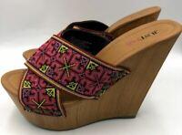 Just Fab Women's Wedge Platform 5 Inch Heels Slip On Open Toe Size 6.5