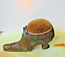 VICTORIAN Gold Shoe Painted w Flowers PIN CUSHION, Silk Ribbon (Ribbon Damaged)