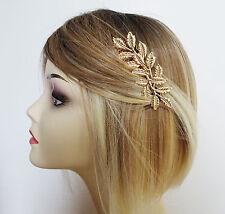 Beautiful Gold Tone Leaf Design Hair Comb Slide 9 cm - Lightweight