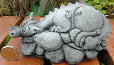 Small Baby Dragon - Hand Cast Stone Garden Ornament - 14 x 7 x 7 cms - 590 grams