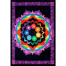 "Rainbow Chakra Tapestry 52 x 76"" Wiccan Pagan Altar Supply Decor 57462"