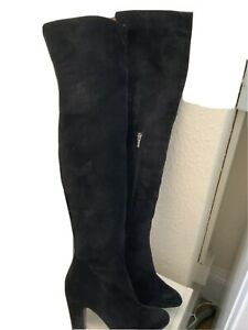 Kate Kuba Black Thigh High Suede Boots Size 39/6 (155BB)