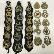Vintage. Various Horse Brasses plus Three Black Leather Straps with Brasses.#301