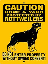 Rottweiler Guard Dog Aluminum Sign Dog With Vinyl Graphics Applied 2496Hyrwv5