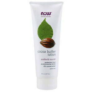 NOW FOODS Cocoa Butter Lotion 8 oz, Soothe & Nourish Protect Skin, MADE IN USA