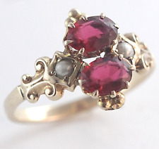 Victorian Garnet & Pearl Ring 14k Yellow Gold Size 6
