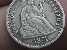 1871 S Seated Liberty Half Dime- VF/XF Details