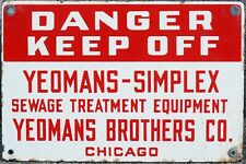 Old American US enamel street road building sign Yeomans Simplex sewage Chicago