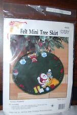 "New listing Hobby Kraft Santa's Presents Mini Tree Skirt Felt Sequin Applique Kit 14"" Nip"