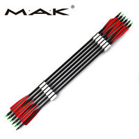 "6pc 33"" Carbon Arrows Reverse Bow Archery Feather Fletched Spine 500 Iron Tips"
