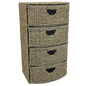 JVL 4-Drawer Bow Front Natural Seagrass Cabinet Chest Storage Unit