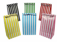 12 Stripe Paper Party Bags - Choose From 6 Colours - Gift Treat Candy Sweet