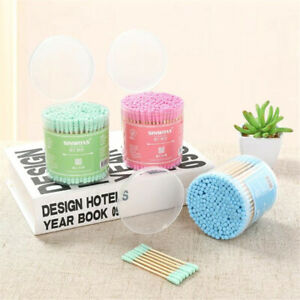 Bamboo Wood Stick Cotton Swab For Beauty Disposable Makeup Swabs Double Head LA