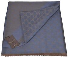 NEW Gucci 281942 XL Wool Silk Blue Taupe GG Guccissima Logo Scarf Shawl Wrap