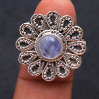Flower Design Moonstone Ring 925 Sterling Silver Handmade Jewelry Size us 8
