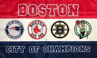 New England Patriots Boston Celtics Red Sox Bruins Flag 3x5 ft Banner Man-Cave