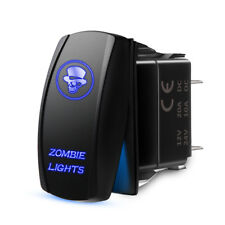 MICTUNING Rocker Switch Blue Zombie Lights Backlit LED ON/OFF 5 Pins 12V24V 2.1A
