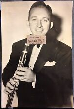 BING CROSBY w Clarinet LARGE (195 x 132mm) GENUINE VINTAGE PROMO REAL PHOTO