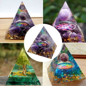 Amethyst Crystal Sphere Orgonite Pyramid Obsidian Chakra Energy Orgone Stone