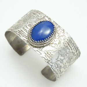 Beautiful! Natural Lapis Lazuli Gemstone & Textured Silver Cuff Style Bracelet