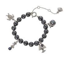 MISAKI 925 Sterling Silver St Barth Bracelet with Dark Grey Pearls & Charms BNIB