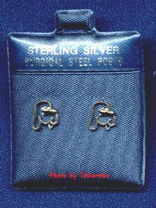 2 PAIR OF DOG STERLING SILVER EARRINGS (SURGICAL STEEL POST) 1 HOUND DOG & 1 DOG