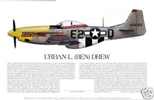 """P-51 Ace Urban 'Ben' Drew"" Ernie Boyette Aviation Print co-signed by Urban Drew"