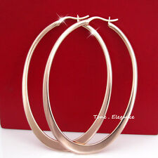 18k gold GF big oval hoop womens solid earrings wedding jewellery
