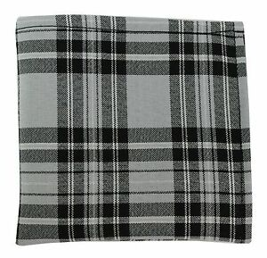 New Men's Polyester Pocket Square Hankie Only plaid checkers Gray Black formal