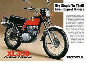 1976 HONDA XL350 K2  ON/OFF ROAD TRAIL BIKE 2 page Motorcycle Sales Brochure NCS