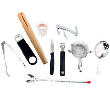 The Essential Bar Tool Set - 10 Pc. Cocktail Mixing Bartend Accessories Kit Gift