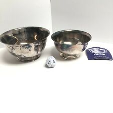"2 Paul Revere Reproduction Bowls Oneida Silversmiths 6"" & Sheridan Silver 5"""