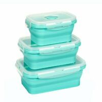 Silicon collapsible food storage containers set of 3 with lid FREEZER SAFE