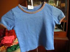 sz 5-6 True Vtg 70s Girls THin KNit JC PENNEY BLUE/ORANGE TRIM T-shirt Top
