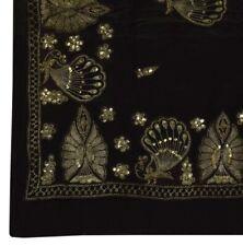 Vintage Indian Saree 100% Pure Crepe Silk Embroidered Peacock Black Sari Fabric