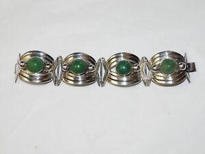 Wonderful Vintage Deco Mexican handmade 4 section Jade Bracelet Sterling SIlver