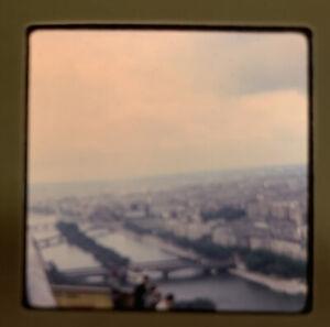 1965 Kodachrome Photo Eiffel Tower Paris France Panoramic Terrace View Seine