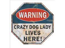 Warning Crazy Dog Lady Retro Style Fridge Magnet Mini Sign Dog Lovers Funny Gift