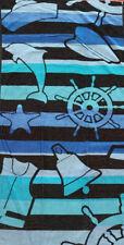 NAUTICAL JUMBO LARGE BEACH TOWEL 100% EGYPTIAN COTTON BELL HAT 70cm x 180cm SUN