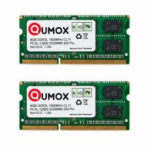 16Go Qumox (2x 8Go)  DDR3 DDR3L 1600MHz PC3-12800 (204 PIN)SO-DIMM Mémoire 1.35v