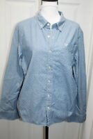 True Religion Button Down Shirt Light Blue W/ White Dots Shirt Women's Size L