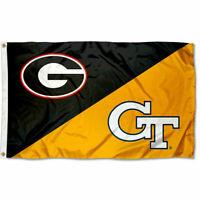 Georgia vs. Georgia Tech House Divided 3x5 Flag Banner
