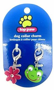 New 2 Pack Top Paw Dog Collar Charm Set Pink Flower Diamond Green Frog Eyes Clip