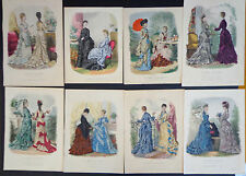 8 Antique Engraved Plates from La Mode Illustrée (1871-76)INV 2018