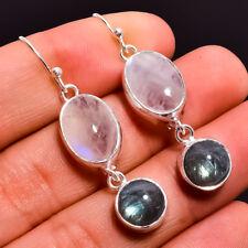 925 Sterling Silver Earrings, Natural Rainbow Moonstone Women Jewelry CE1064