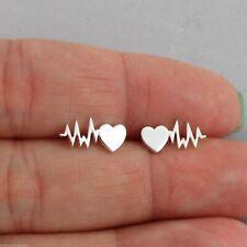Heartbeat Stud Ear Climber Earrings 925 Sterling Silver Heart Ear Crawlers Gift